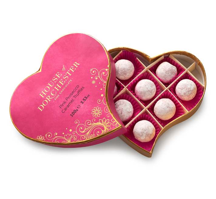House of Dorchester Pink Prosecco Caramel Truffles 100g