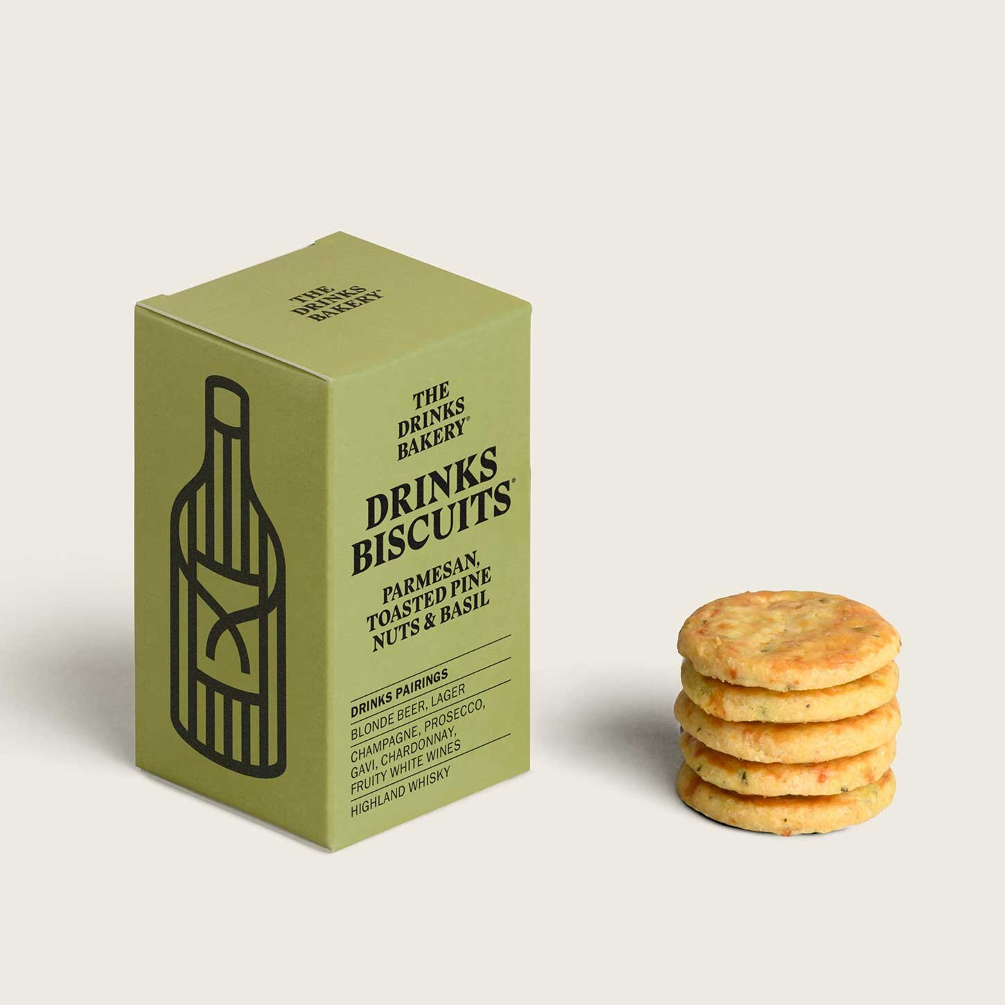 The Drinks Bakery Parmesan, Toasted Pine Nuts & Basil Drinks Biscuit 36g